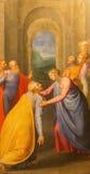 Rome - umgänge av jungfruliga Mary till Elizabeth målning av Giuseppe Valeriano (1526 - 1596) i kyrkliga Chiesa del Jesu Royaltyfri Foto