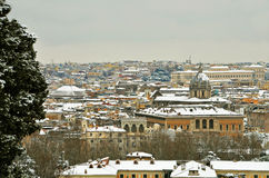 Rome under the snow panorama Royalty Free Stock Images