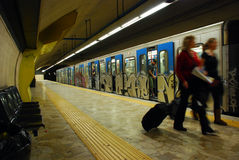 Rome underground. Train arriving at a Underground platform - Rome, Italy Stock Images