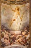 Rome - uppståndelsefreskomålningen i kyrklig Santa Maria dellAnima av Francesco Salviati från 16 cent Arkivbilder
