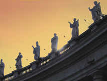 Rome - Vatican. The Vatican Bernini's colonnade in Rome at sunset in winter royalty free stock images