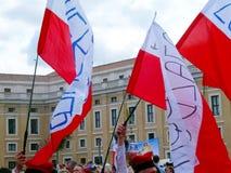 ROME, VATICAN - April 28, 2014: the joy of Polish pilgrims to St Royalty Free Stock Photos