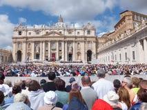 ROME, VATICAN - April 28, 2014: polish pilgrims li Stock Photos