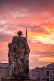 Rome Vatican city. Sunrise over the St. Peters Basilica in Vatican City. Morning at the most famous landmark, empty of people street, cloudy sky Royalty Free Stock Images