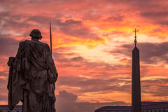 Rome Vatican city. Sunrise over the St. Peters Basilica in Vatican City. Morning at the most famous landmark, empty of people street, cloudy sky Stock Photography