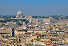 Rome and Vatican cityscape. Rome cityscape and Vatican St. Peter's Basilica panoramic view Royalty Free Stock Images