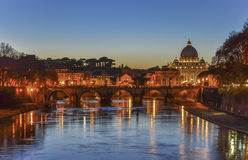 Rome and Vatican at Night Stock Image