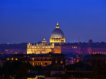 Rome. Vatican. St Peter's Basilica at night Stock Images