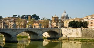 Rome Vatican and Tiber river. View across the Tiber river at the St.Peter's dome Vatican Rome stock image
