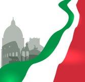 Rome vektorillustration med den italienska flaggan royaltyfri illustrationer