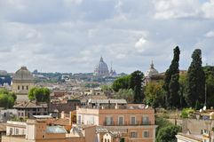 Rome. View from Palatine Hill towards St. Peter`s basilica Stock Photography