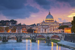 Rome. View of St. Peters cathedral in Rome, Italy during beautiful sunset stock images