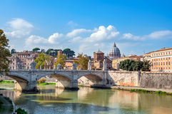 Rome, View of the Tiber and St. Peter's Basilica with the Bridge Stock Images