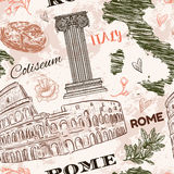 Rome. Vintage seamless pattern with Coliseum, Italy map, classic style column and flowers on grunge background Stock Photography