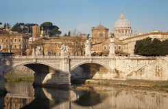 Rome - Vittorio Emanuel bridge and  basilica Stock Image