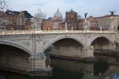 Rome - Vittorio Emanuel bridge in evening Stock Photo