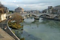 Rome Vittorio Emanuele ll Bridge on Tevere River. Rome view of Vittorio Emanuele ll Bridge on Tevere River Stock Photography