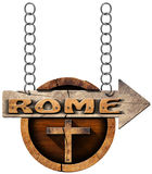 Rome - Wooden Sign with Cross Royalty Free Stock Photo