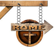 Rome - Wooden Sign with Cross Stock Photos