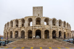 Romein amphitheatre in Arles - Unesco-werelderfenis in Frankrijk Stock Fotografie