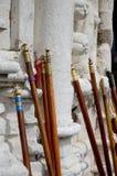 Romeiros wooden sticks stock image