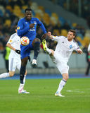 Romelu Lukaku and Antunes battle for ball, UEFA Europa League Round of 16 second leg match between Dynamo and Everton royalty free stock photos