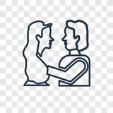 Romeo και juliet διανυσματικό γραμμικό εικονίδιο έννοιας που απομονώνεται σε transpar απεικόνιση αποθεμάτων