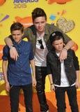 Romeo Beckham & Brooklyn Beckham & Cruz Beckham stock fotografie