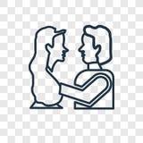 Romeo i juliet pojęcia wektorowa liniowa ikona odizolowywająca na transpar ilustracji