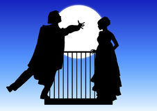 Romeo and Juliet. Silhouette of Romeo and Juliet balcony scene Royalty Free Stock Photography