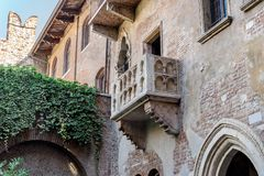 Romeo and Juliet`s balcony. In Verona in Italy Stock Photos