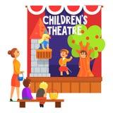 Romeo And Juliette Scene With il balcone eseguito dai bambini nel teatro dilettante con altri allievi che guardano con l'insegnan illustrazione vettoriale