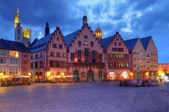 The Romer at night, Frankfurt, Germany. The Römer is a medieval building in Frankfurt am Main, Germany which for the last 600 years (since 1405) was used as stock images