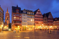 Romerberg, Frankfurt, Germany. Romerberg is a central square in downtown Frankfurt am Main, Germany, lined-up by historical houses (although reconstructed after Stock Photo