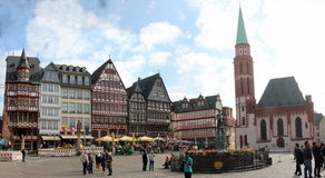 Romerberg plaza, Frankfurt. Panoramic view of Romerberg plaza, Frankfurt , Germany, center of the old city Stock Images