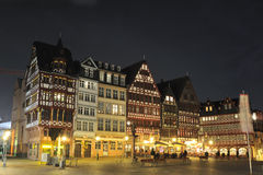 Romerberg square in Frankfurt city. Romerberg is a central square in downtown Frankfurt am Main, Germany, lined-up by historical houses Royalty Free Stock Image