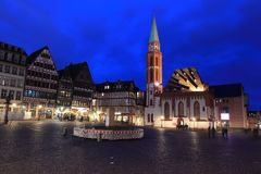 Frankfurt am Main. Romerberg square in Frankfurt am Main at night, Germany Royalty Free Stock Photography