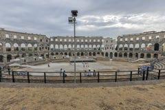 Romersk amfiteater arenan, Pula, Kroatien Arkivbilder