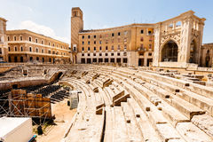 Romersk amfiteater av Lecce, Italien royaltyfri bild