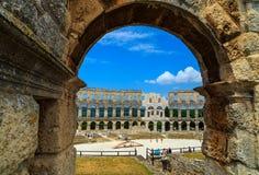 Romersk amfiteater i Pula, Istria region, Kroatien, Europa arkivbilder