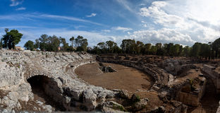 Romersk amfiteater, Syracuse, Sicilien, Italien Arkivbilder