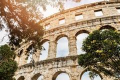 Romersk amfiteaterarena i pula Kroatien Royaltyfri Fotografi