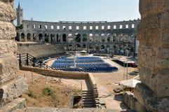 Romersk amphitheater, colosseum i Pula, Kroatien Fotografering för Bildbyråer