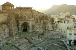 Romersk amphitheater i Cartagena Arkivfoton