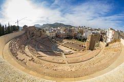 Romersk amphitheater i Cartagena Arkivbilder