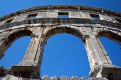 Romersk amphitheater i Pula Arkivfoto