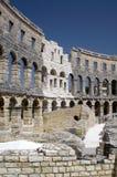 Romersk amphitheater i Pula Arkivbild
