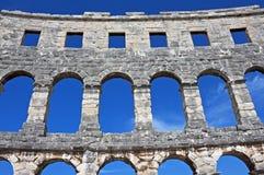 Romersk arena, Pula, Kroatien Arkivbilder