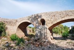 Romersk bro i Pollenca, Majorca arkivfoton