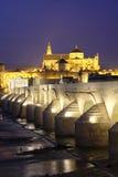 Romersk bro och moské av Cordoba Royaltyfri Fotografi